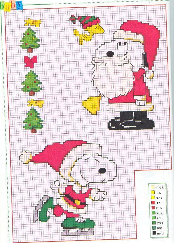 Snoopy charlie brown natale punto croce for Decorazioni punto croce bambini