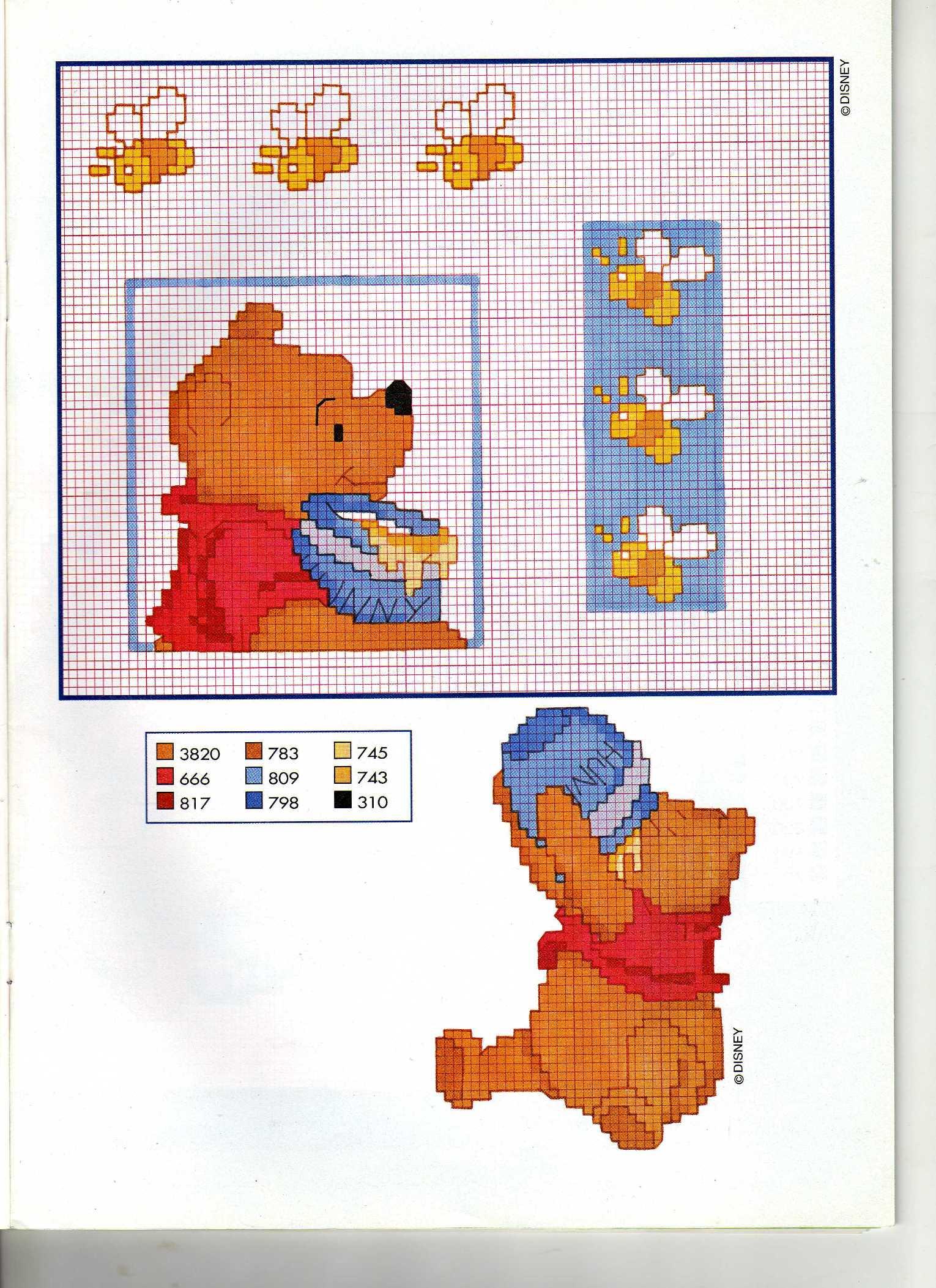 Winnie the pooh con barattolo miele e api for Winnie the pooh punto croce