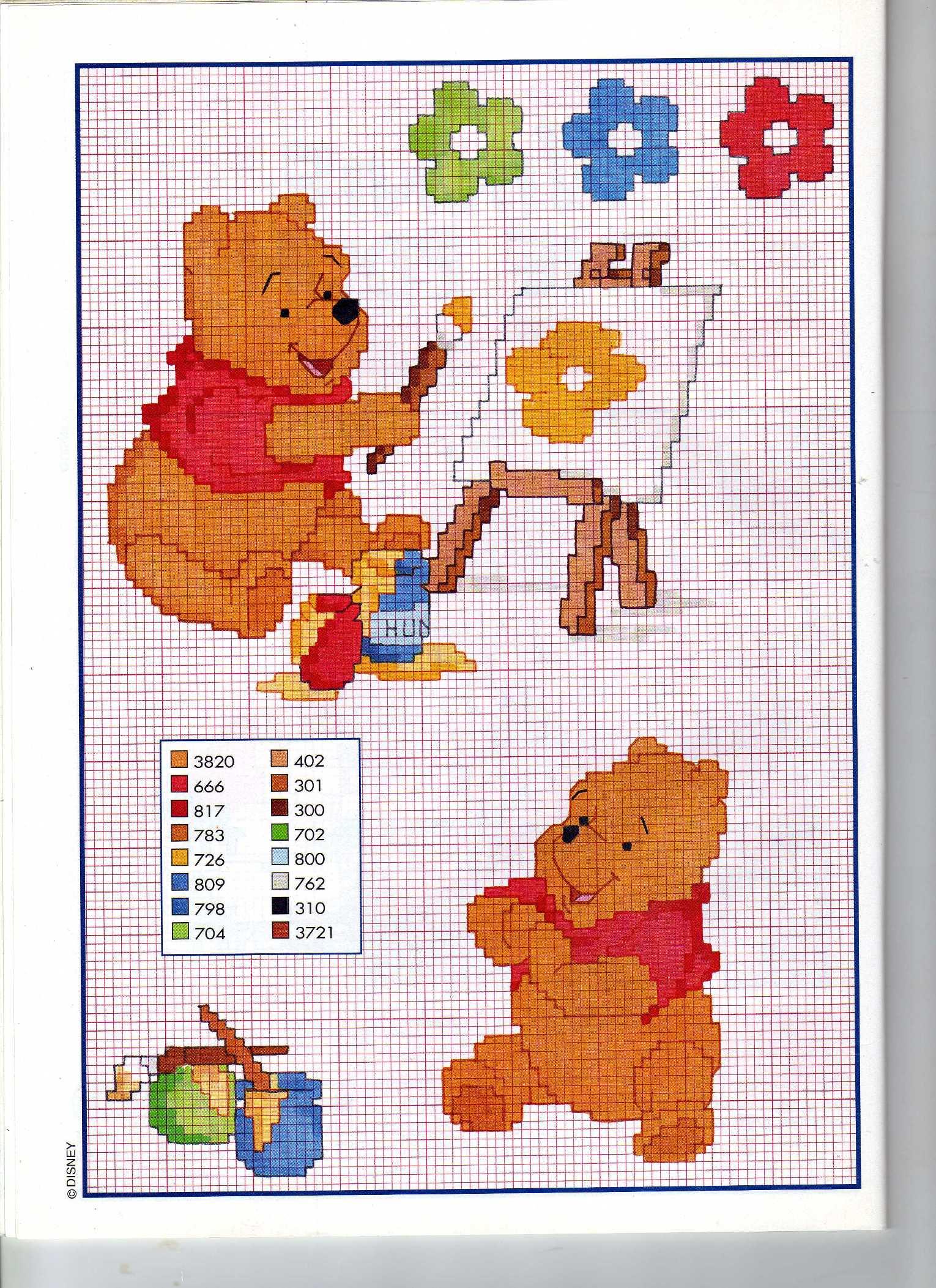 Winnie the pooh dipinge col miele punto for Punto croce disney winnie the pooh