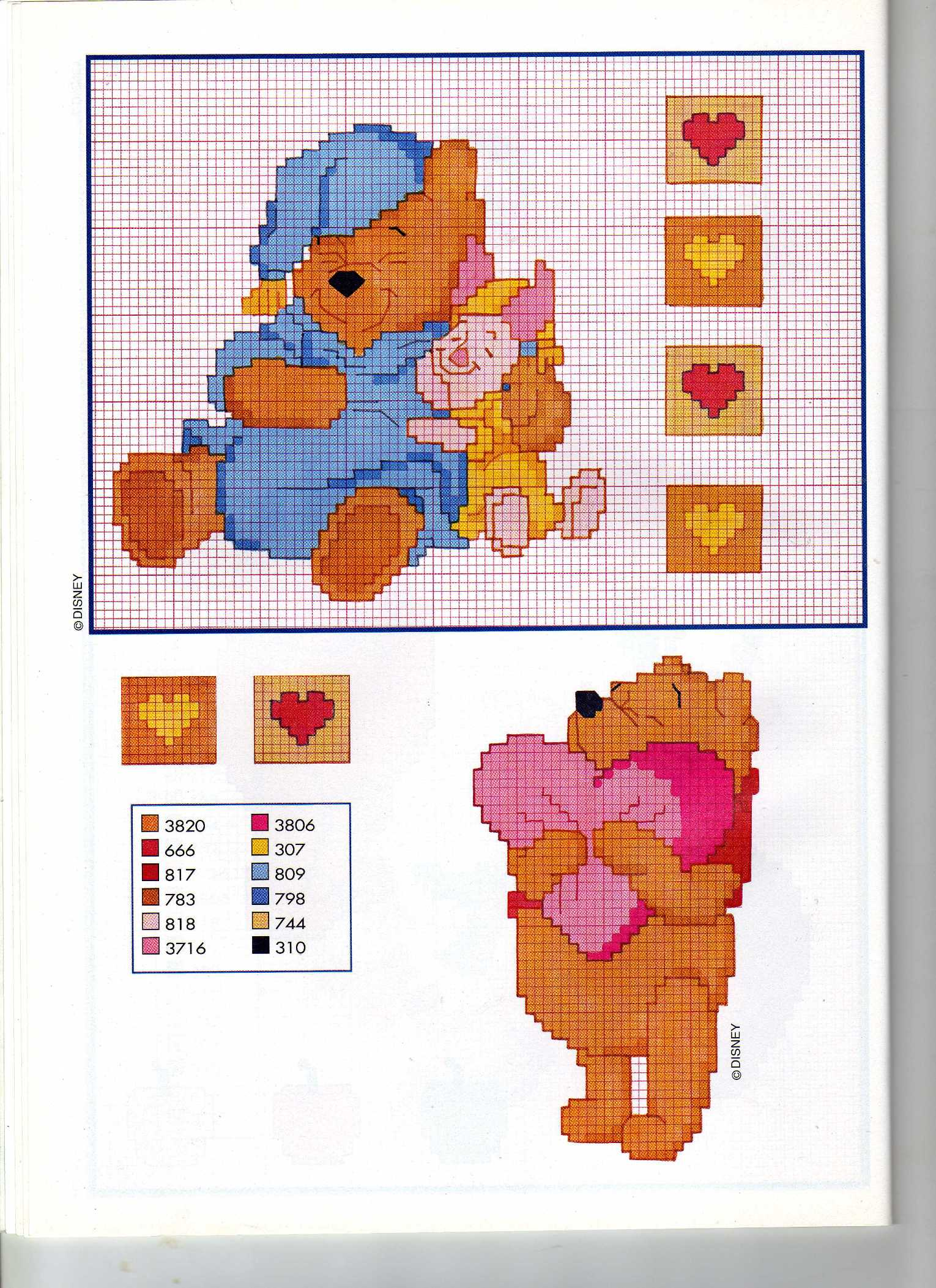 Winnie the pooh e pimpi nanna cuore punto for Winnie the pooh punto croce
