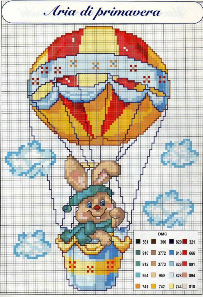 Copertina coniglio sulla mongolfiera schema puntocroce for Punto a croce bambini