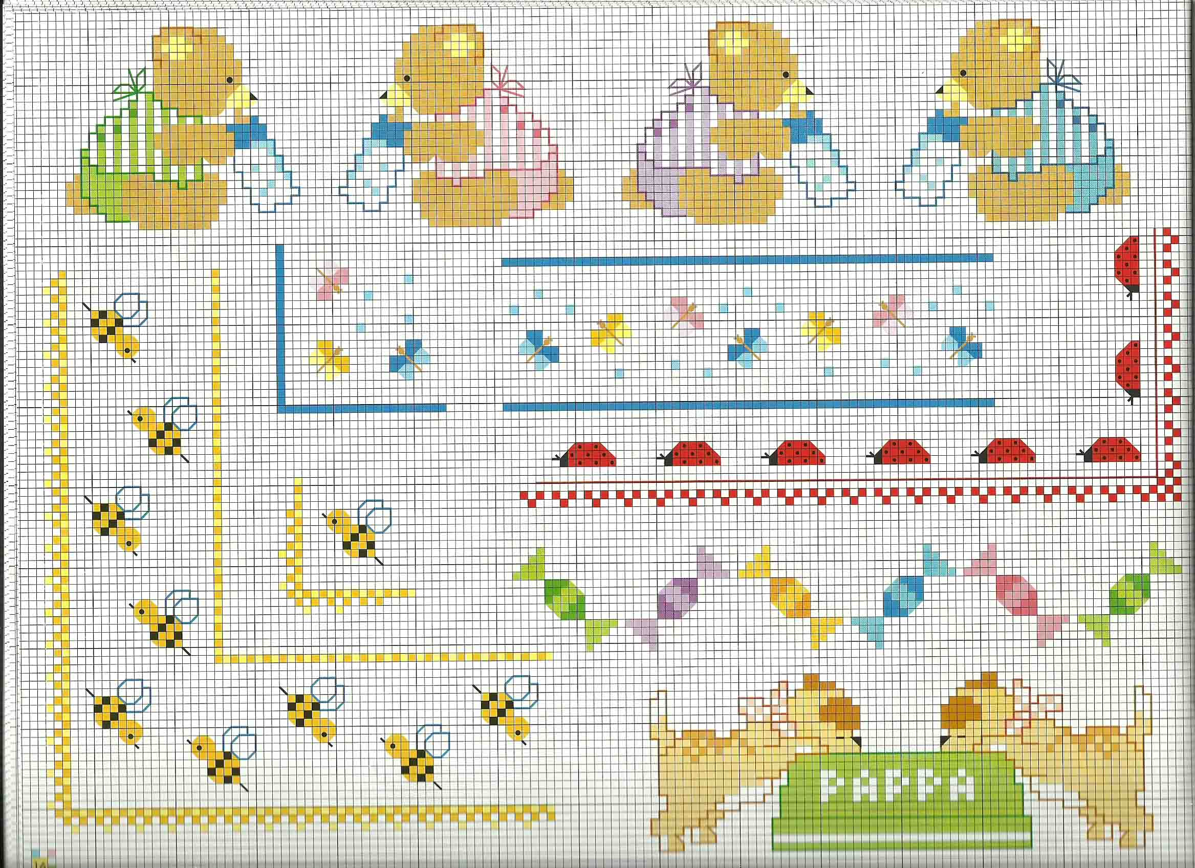 Idee di bordure punto croce lenzuolino copertina beb for Idee punto croce neonati