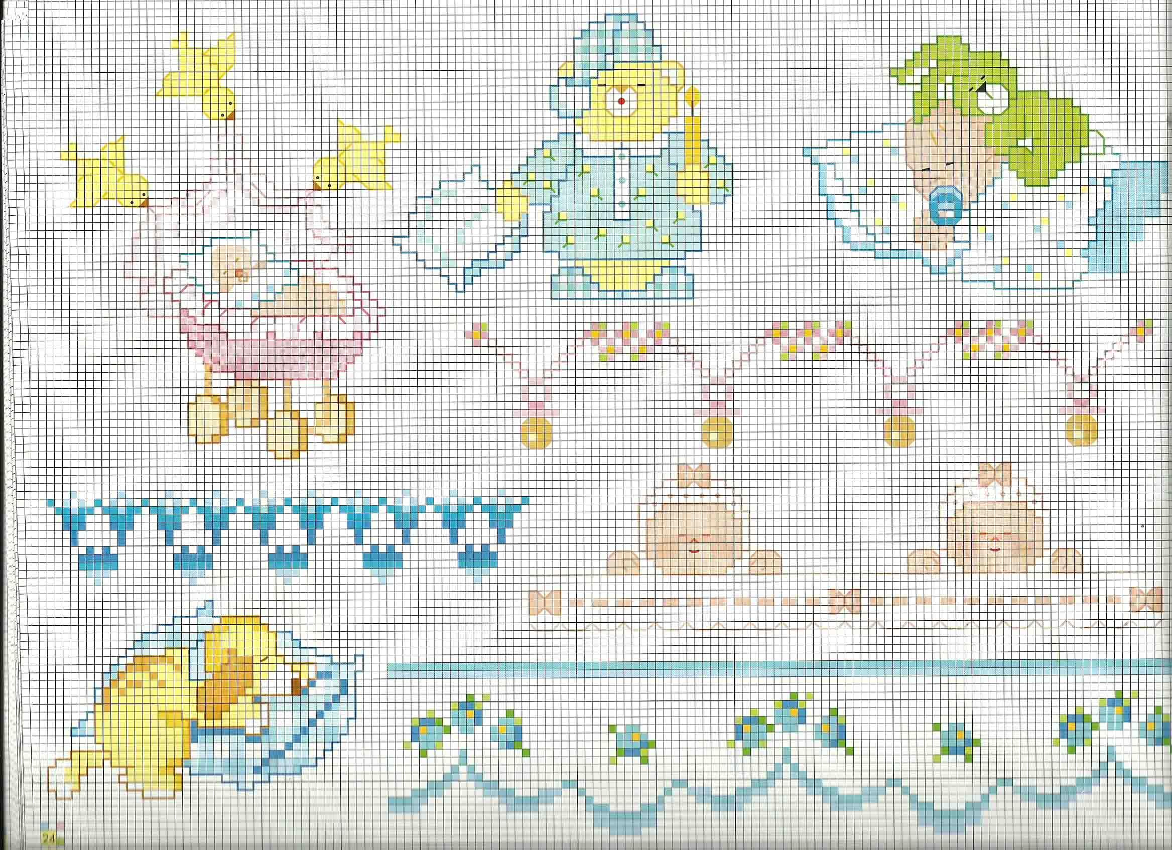 Schemi copertina lenzuolino beb punto croce la nanna for Schemi punto croce bagnetto bimbi