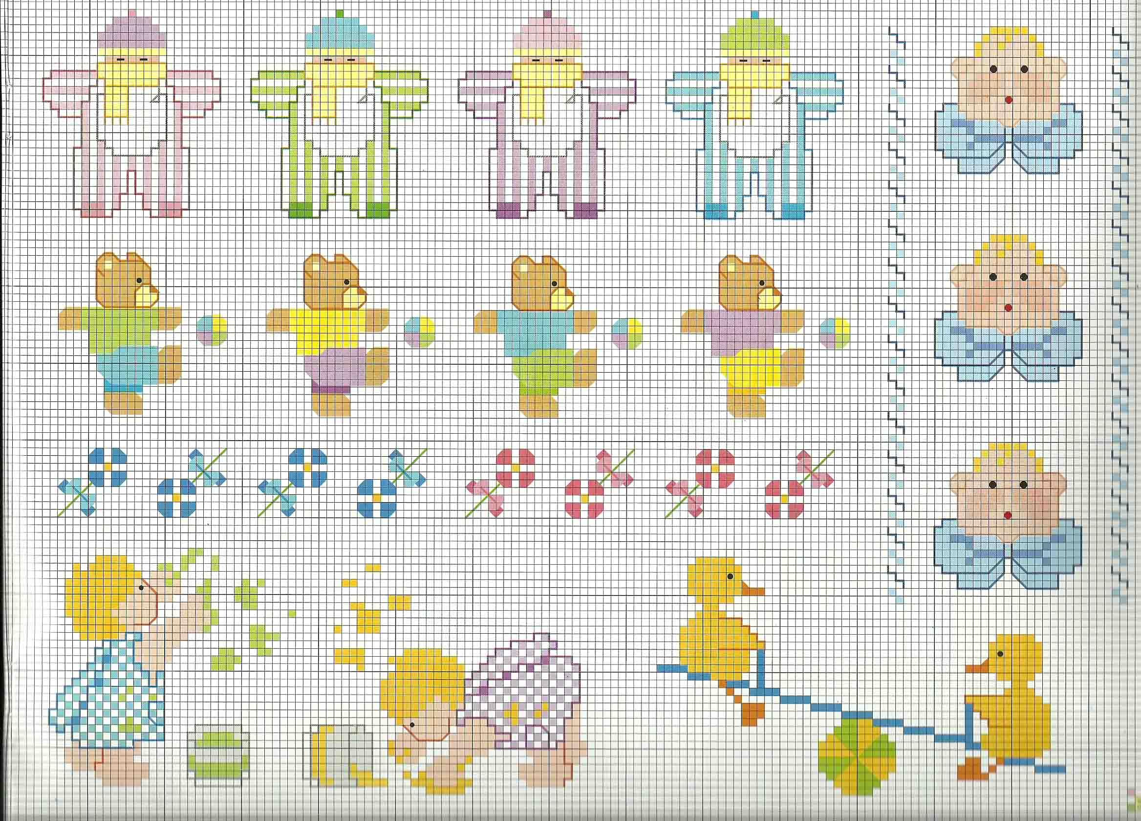 Vari schemi da ricamare su copertina o lenzuolino beb for Ricami punto croce per neonati