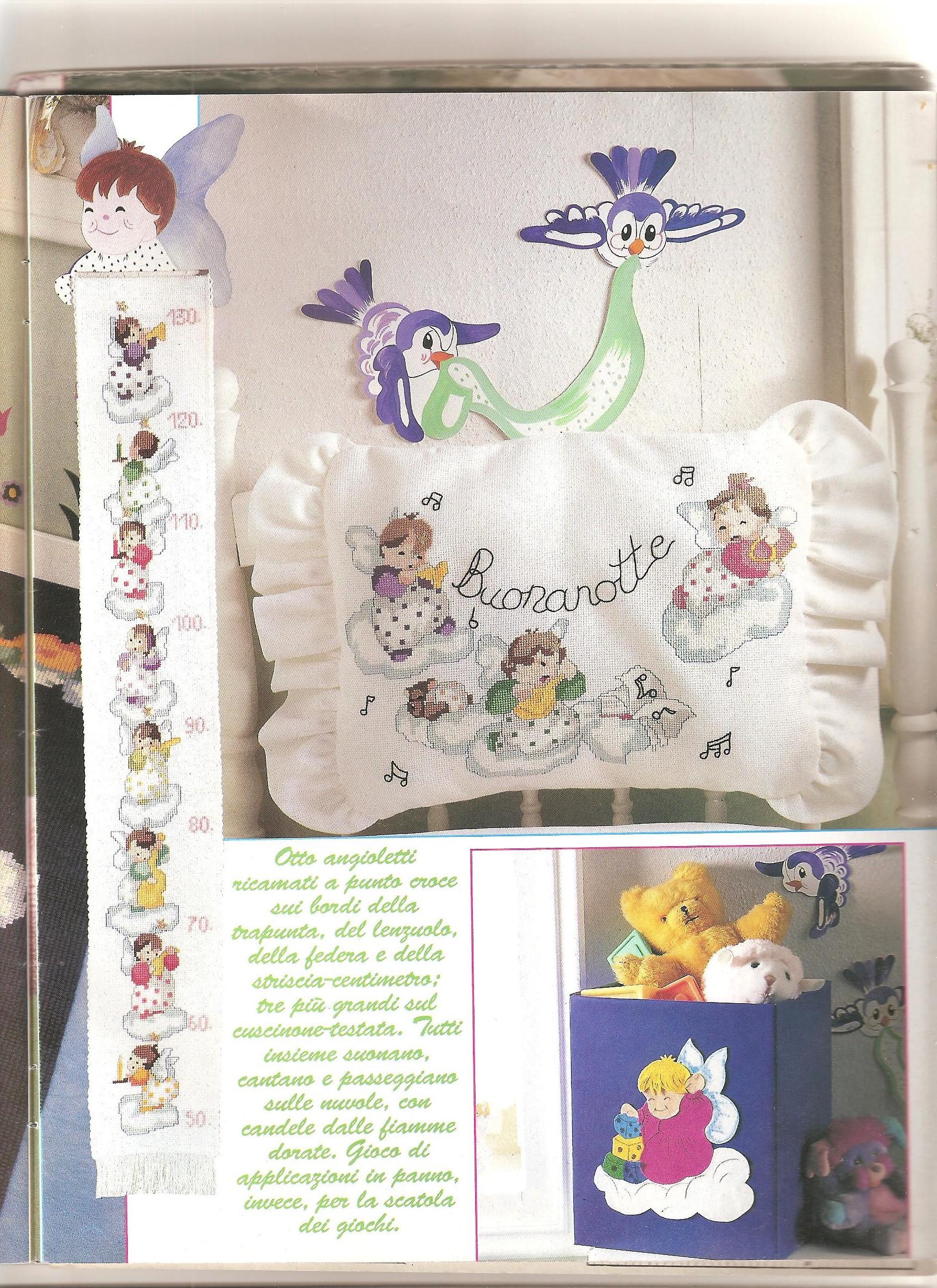 Angioletti completo per cameretta1 punto for Angioletti punto croce per bambini