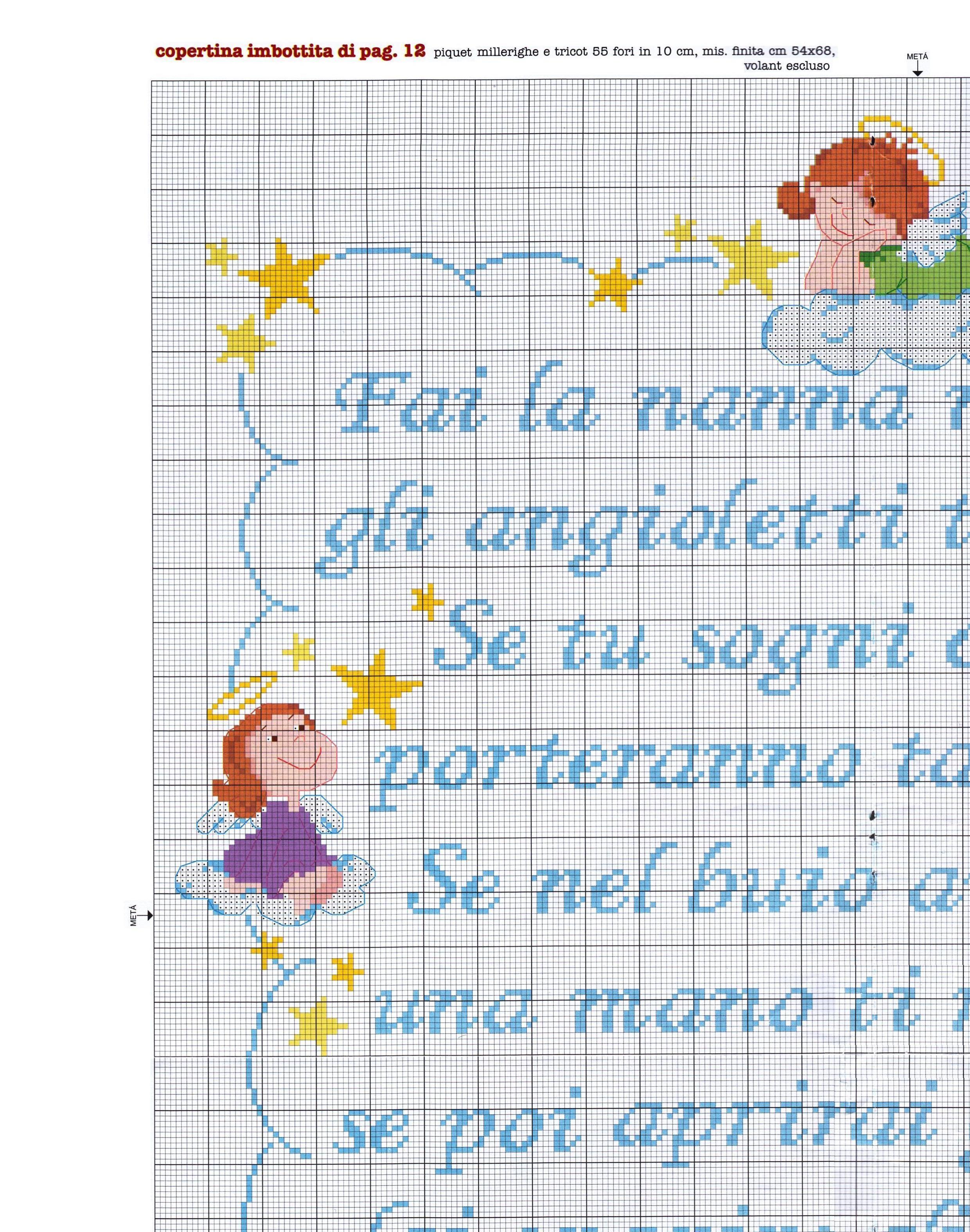 Copertina lenzuolino filastrocca angioletti 4 for Copertine punto croce bimbi schemi
