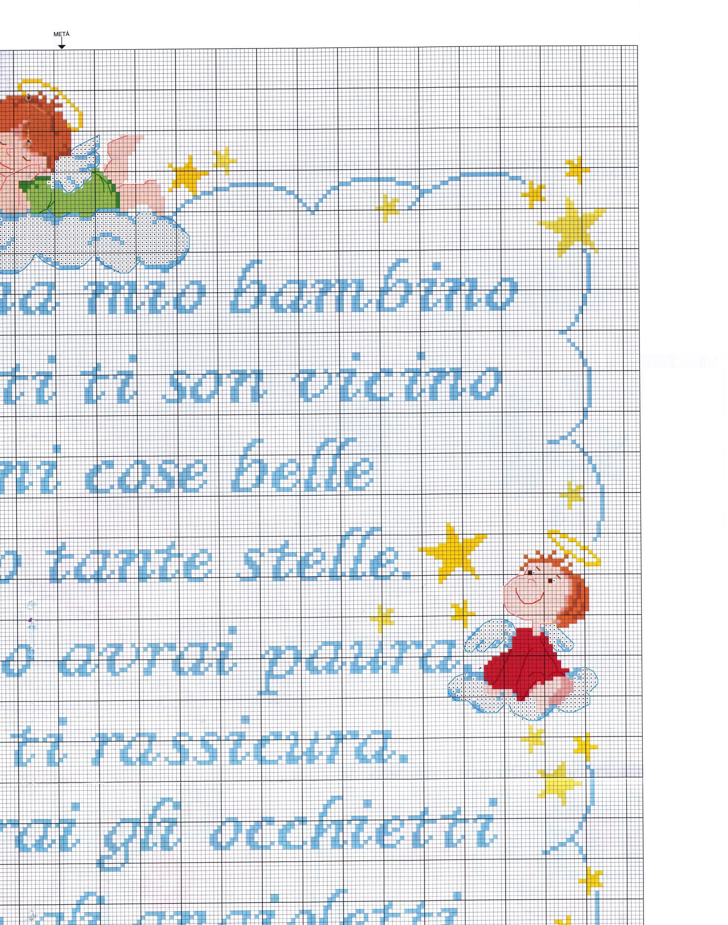 Copertina lenzuolino filastrocca angioletti 5 for Copertine punto croce bimbi schemi
