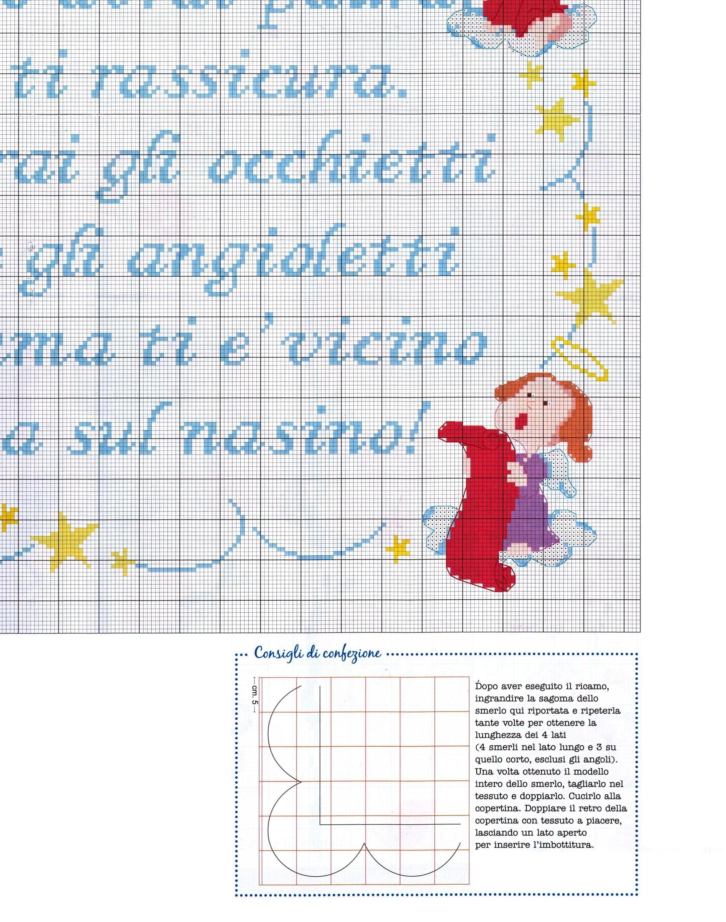 Copertina lenzuolino filastrocca angioletti 7 for Punto croce bambini gratis