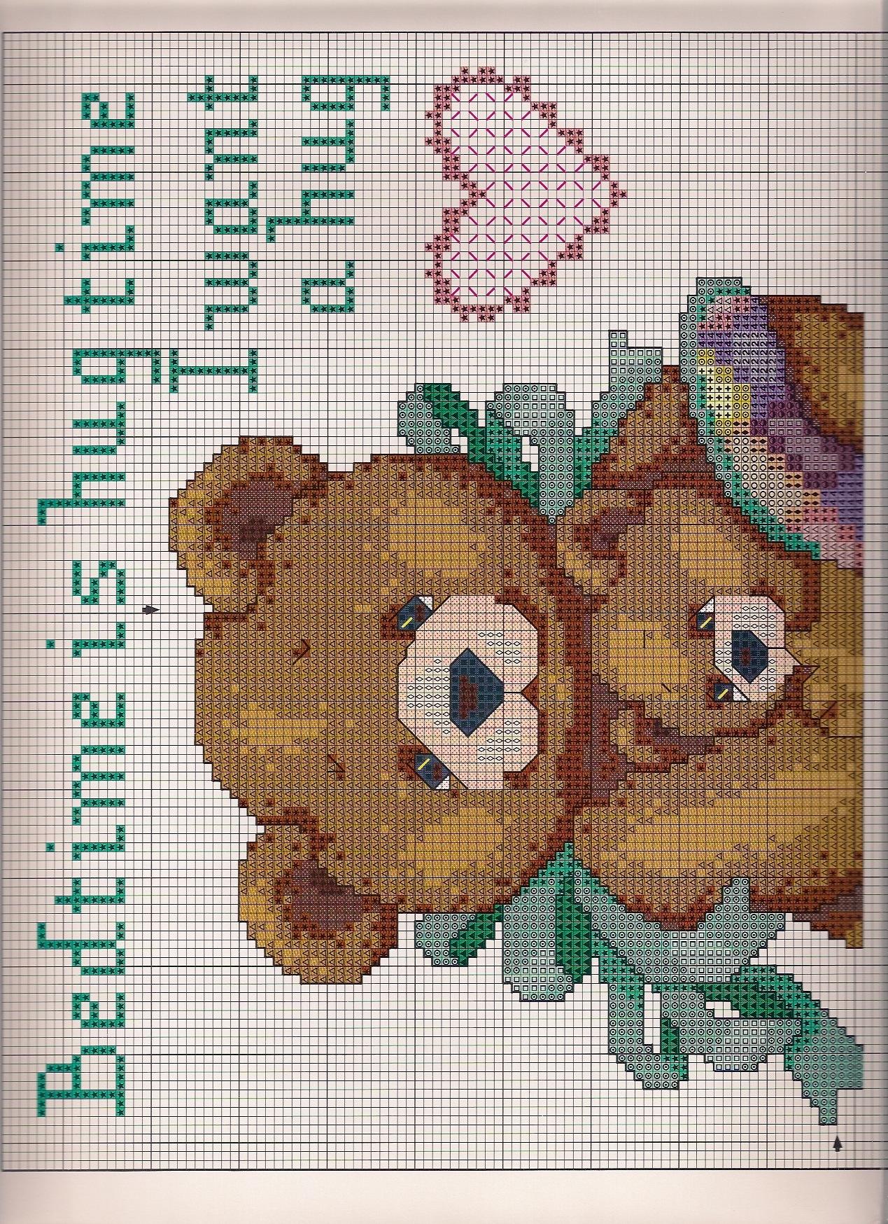 Copertina orsi 2 punto croce uncinetto for Copertine punto croce bimbi schemi