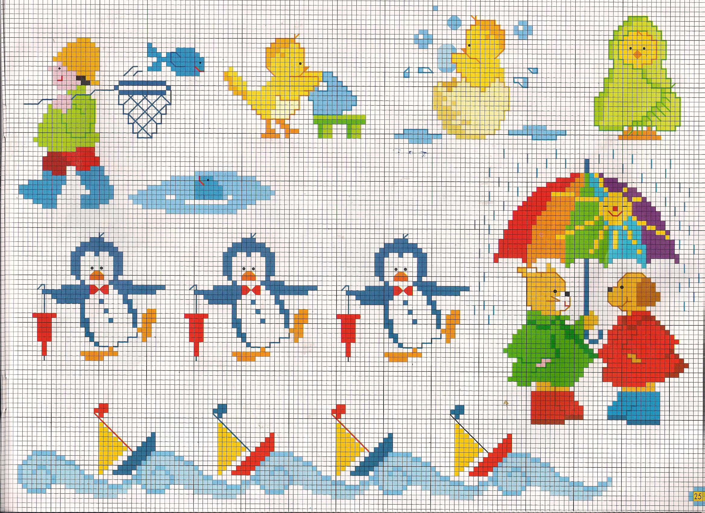 pinguini e navi idee per copertina lenzuolino punto croce