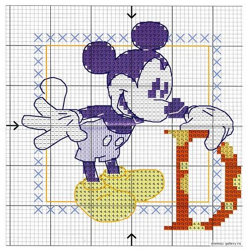 Alfabeto punto croce di topolino 1 for Punto croce bambini disney