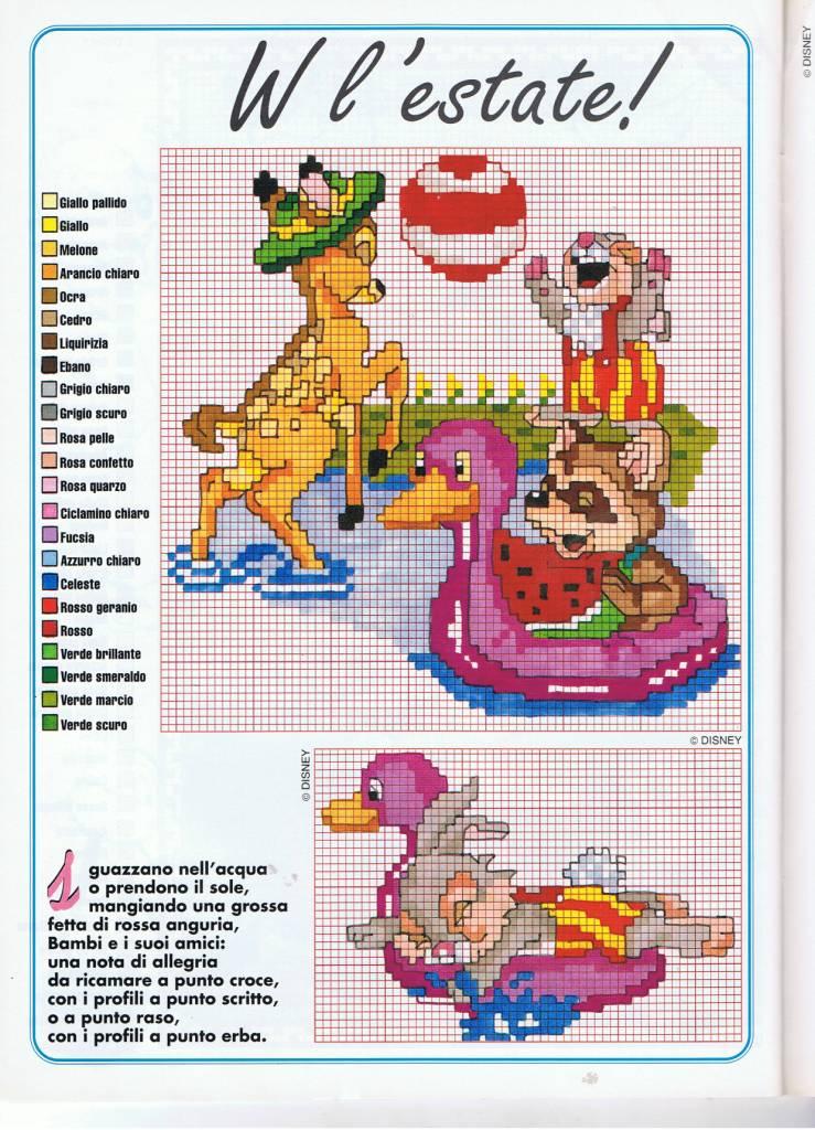 Bambi e amici giocano nell 39 acqua punto for Punto croce bambini disney
