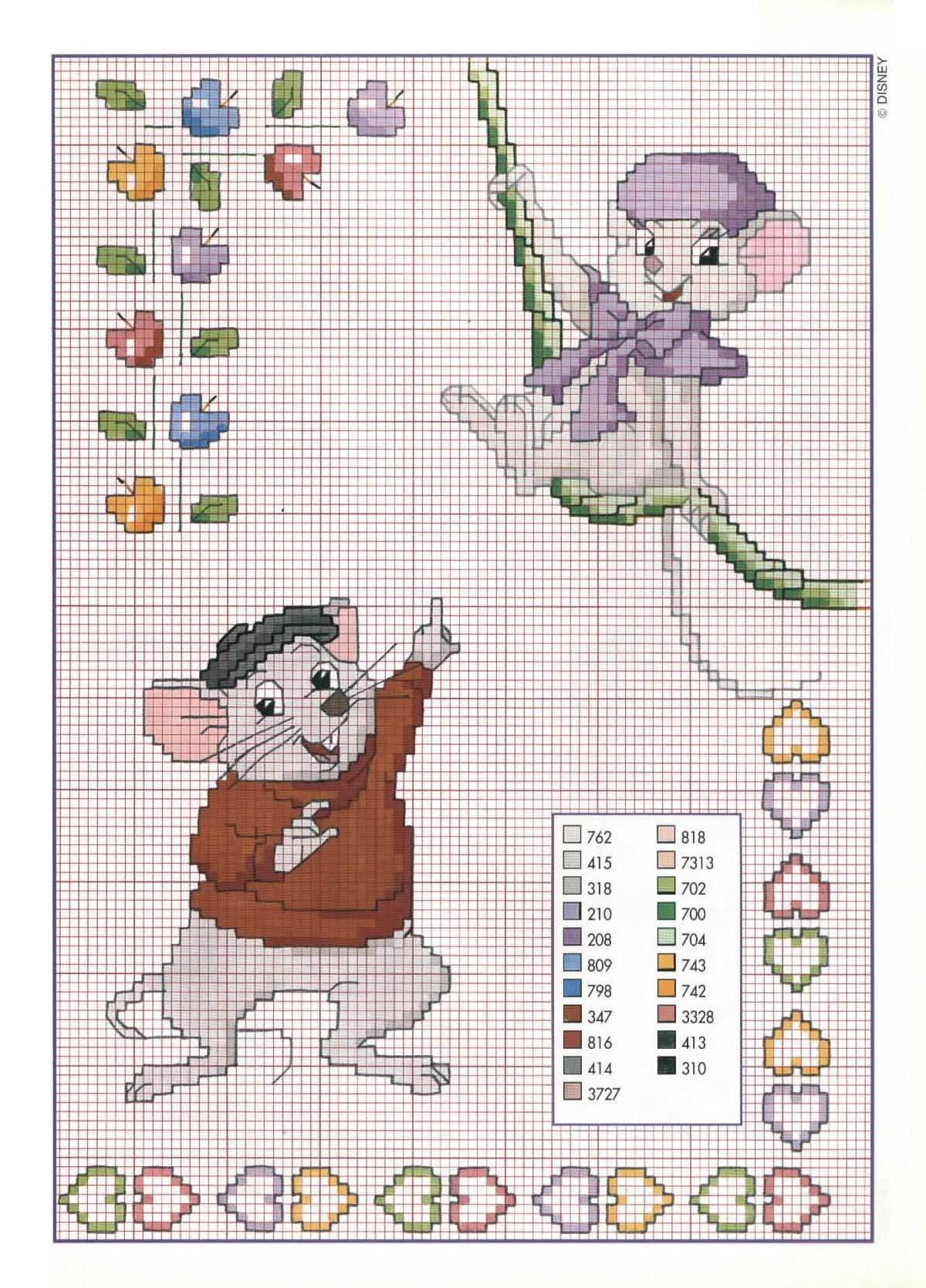 Bianca e bernie cartone animato punto for Schemi punto croce bambini disney