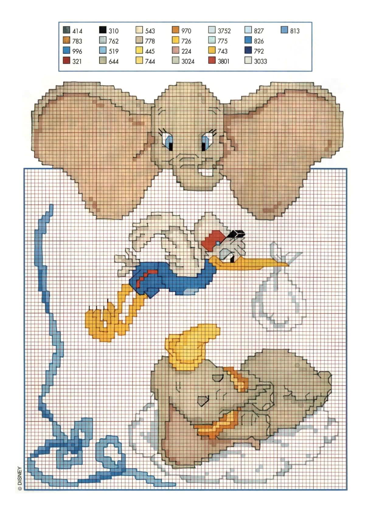 Dumbo l 39 elefante walt disney punto croce for Schemi punto croce bambini disney