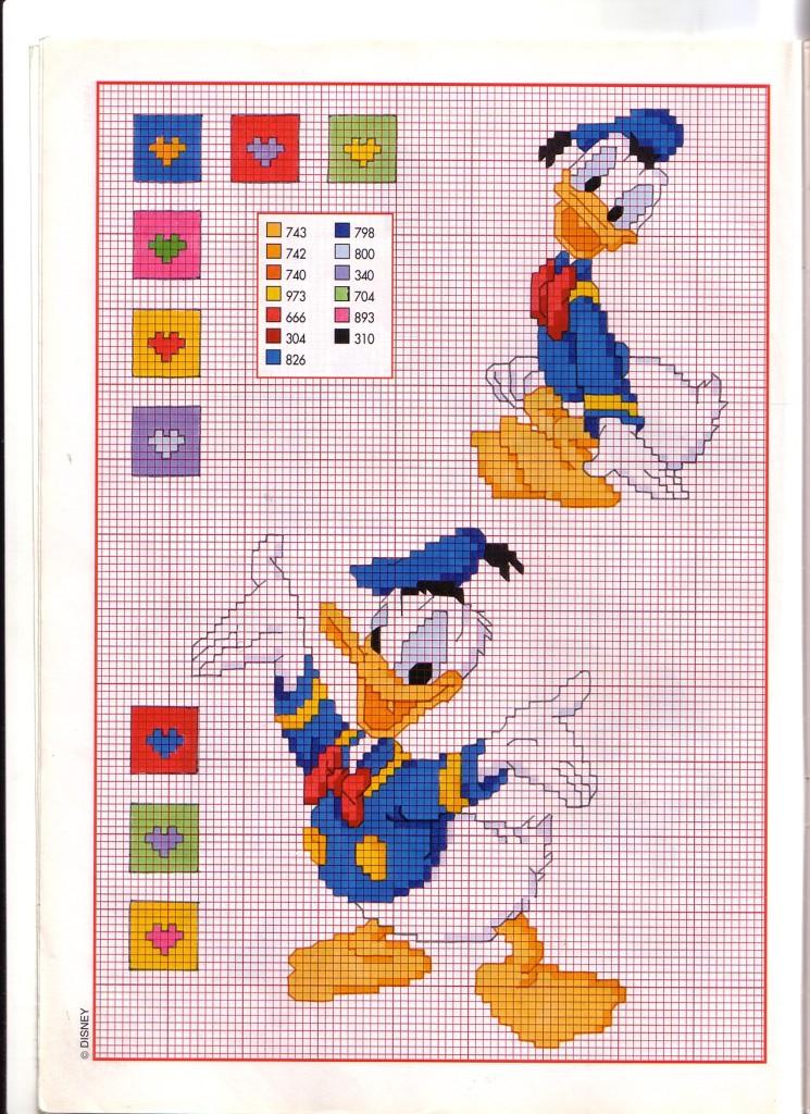 Paperino simpatico e sorridente schema punto croce for Punto croce bambini disney