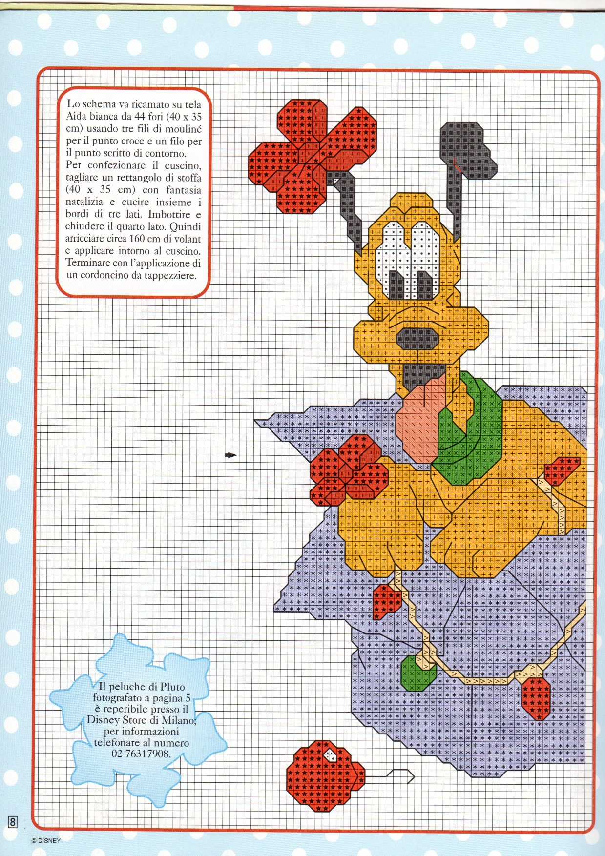 Pluto disney da ricamare sul cuscino per natale 1 for Punto croce bambini disney