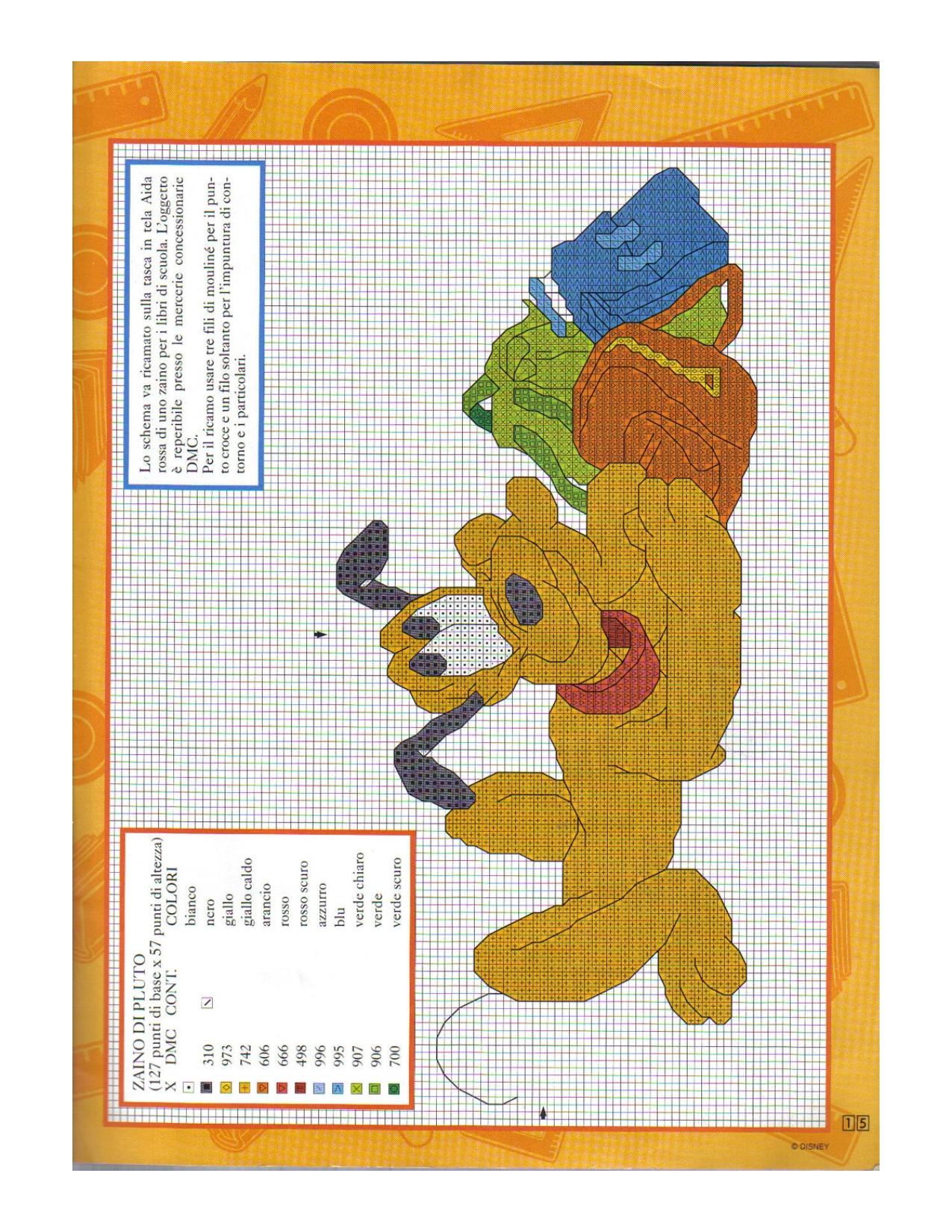 Pluto della disney con zainetti bambini for Schemi punto croce bambini disney