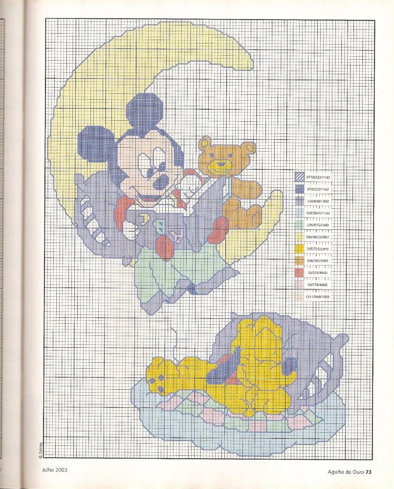 Punto croce baby disney per copertine lenzuolini 3 for Punto croce bambini disney