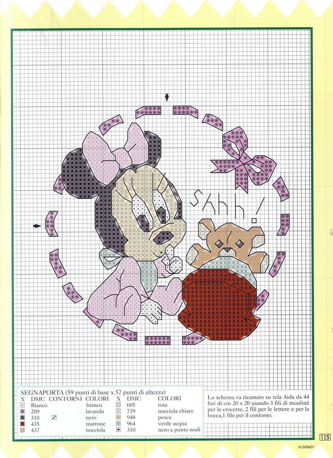 Punto croce baby disney per copertine lenzuolini 8 for Punto croce bambini disney