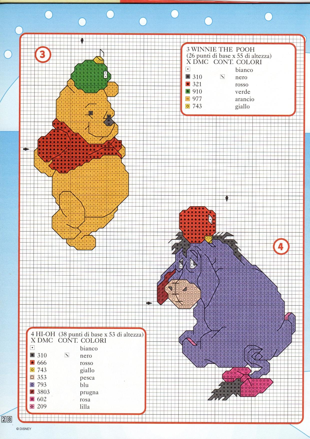 Winnie the pooh e hi oh schemi da ricamare magiedifilo for Winnie the pooh punto croce
