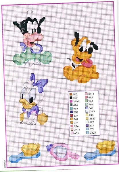 Baby disney pippo bavaglino punto croce for Disney punto croce schemi gratis