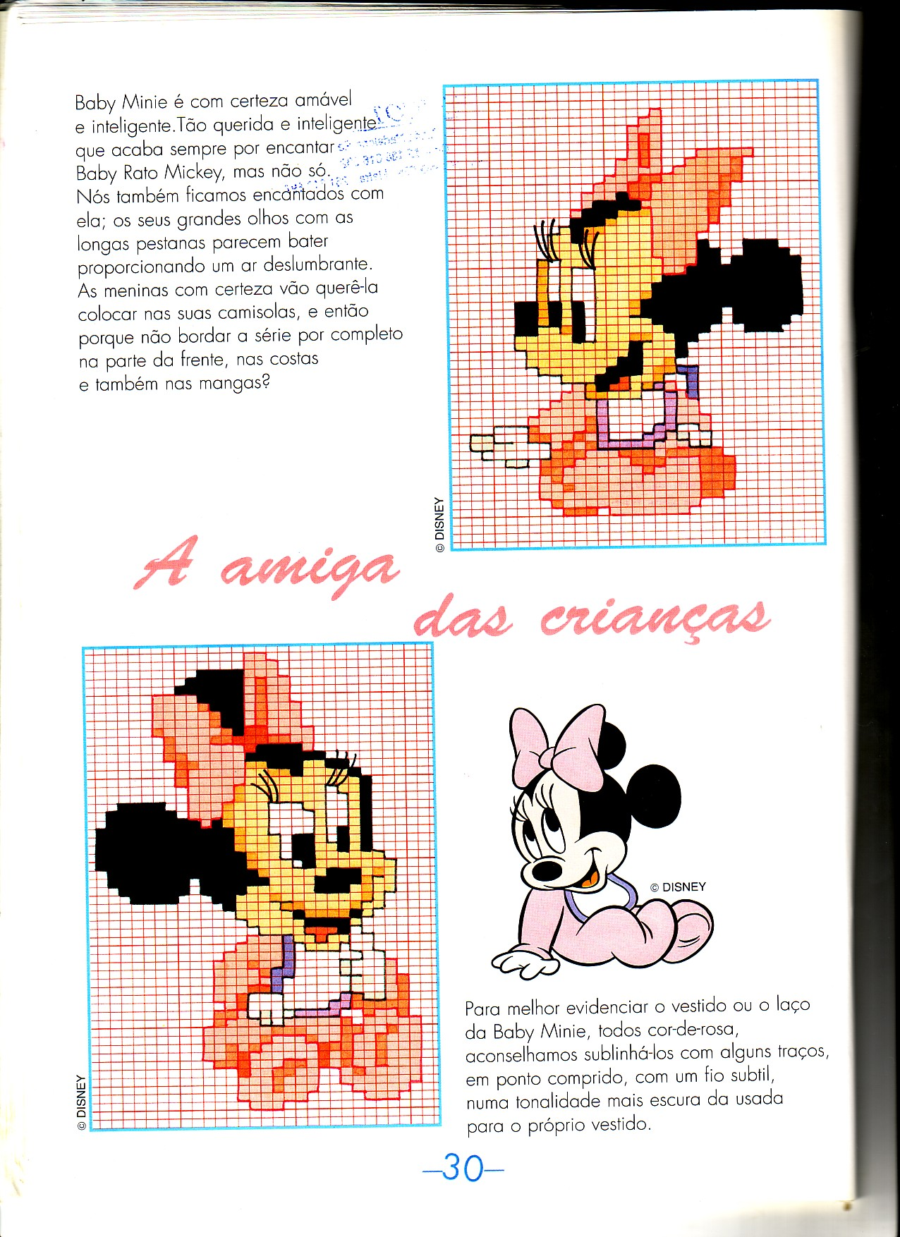 Baby minnie con vestitino rosa punto for Schemi punto croce bambini disney