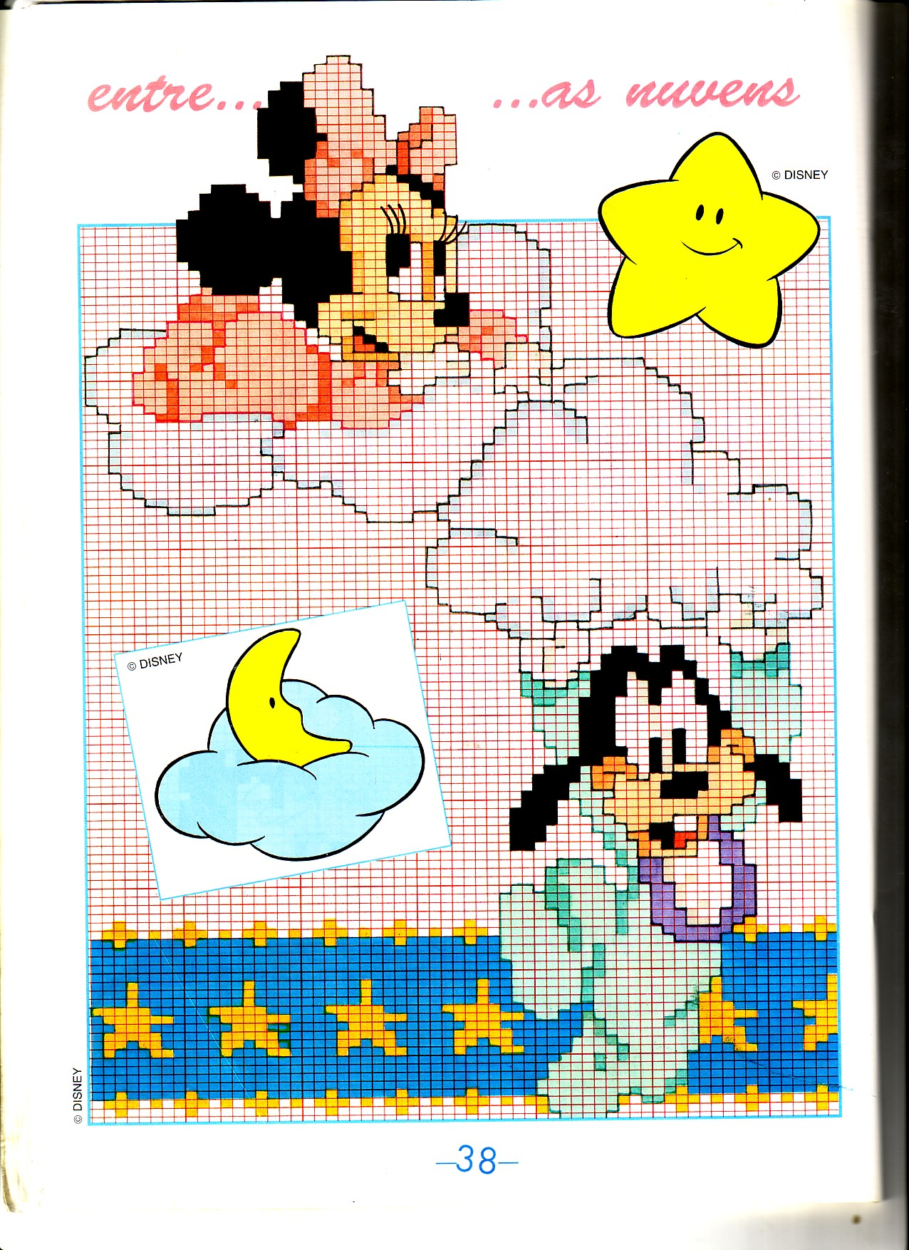 Baby minnie e baby pluto sulle nuvole for Schemi punto croce bambini disney