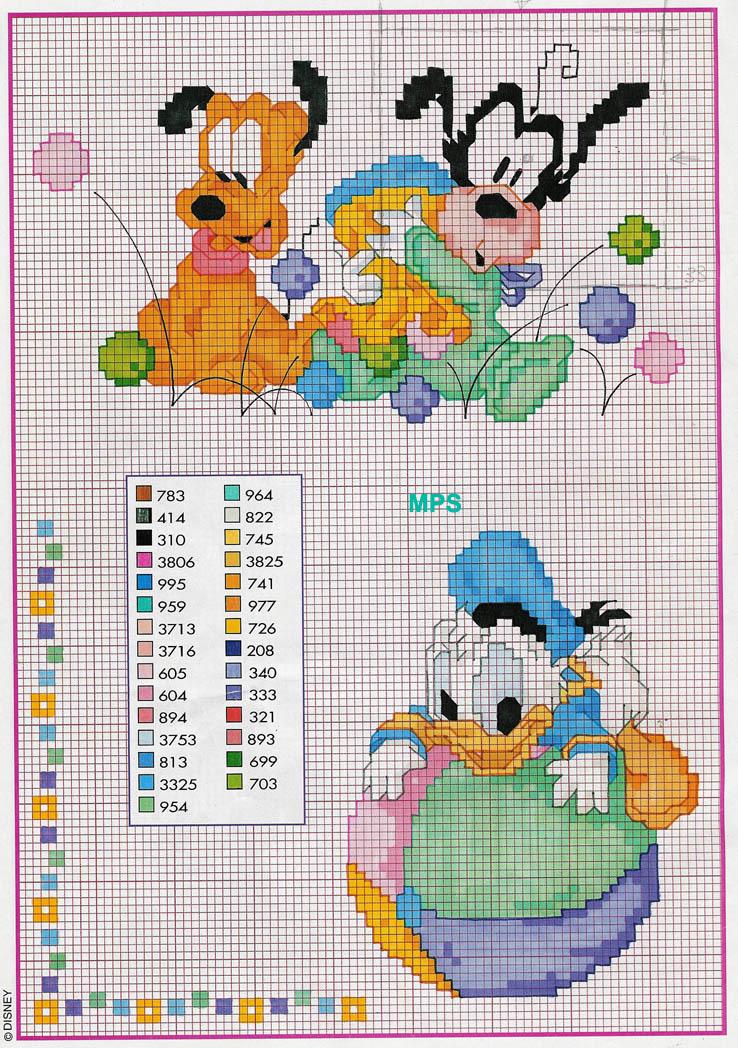 Baby paperino pluto pippo schema 78 punto for Disney punto croce schemi gratis