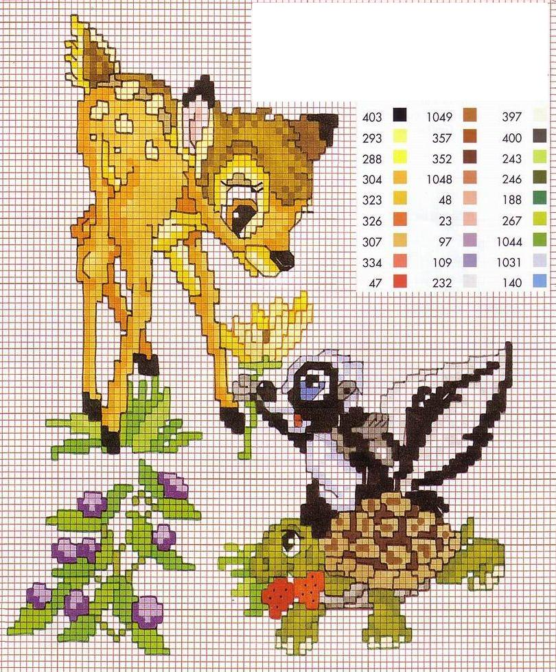 Bambi con tartaruga e puzzola punto croce for Schemi punto croce bambini disney