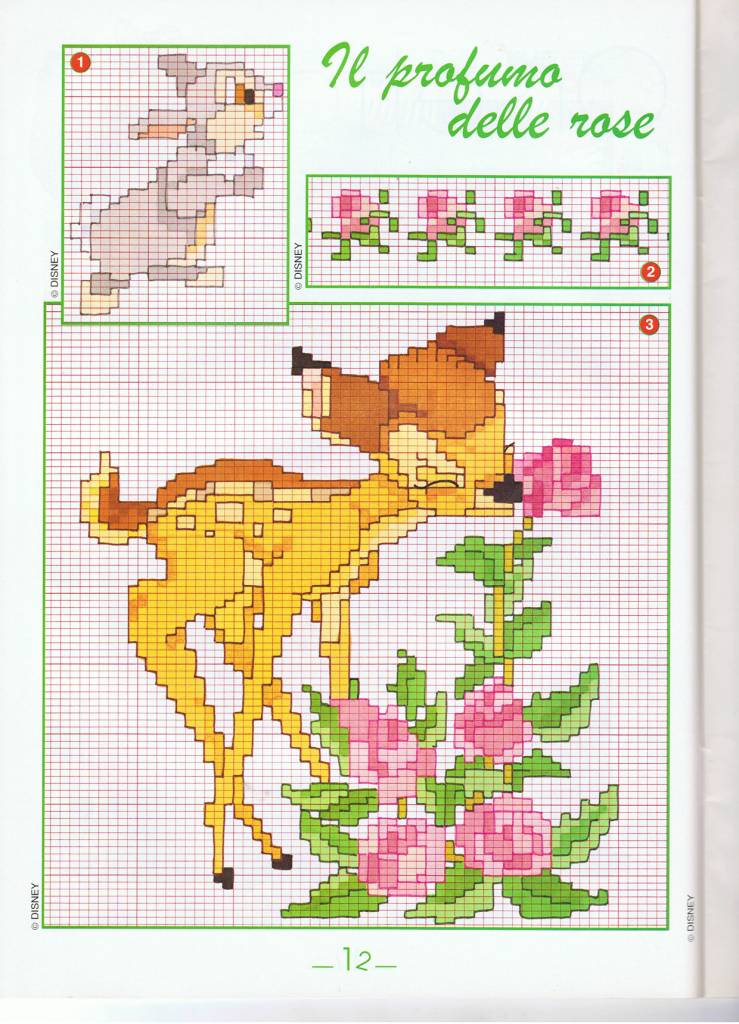 Bambi fiori punto croce uncinetto schemi for Disney punto croce schemi gratis