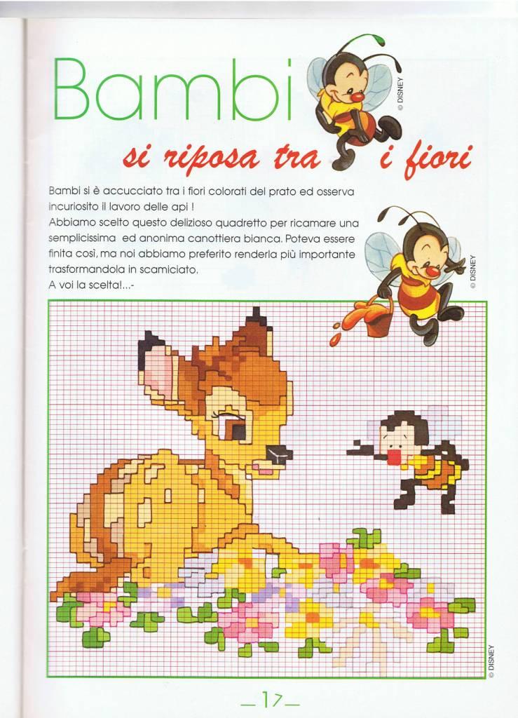 Bambi seduto su fiori punto croce for Punto croce bambini disney