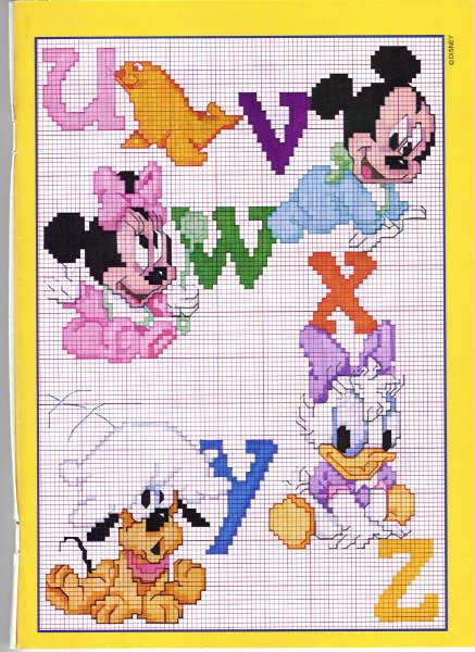 Beby disney alfabeto 3 punto croce for Schemi punto croce bambini disney