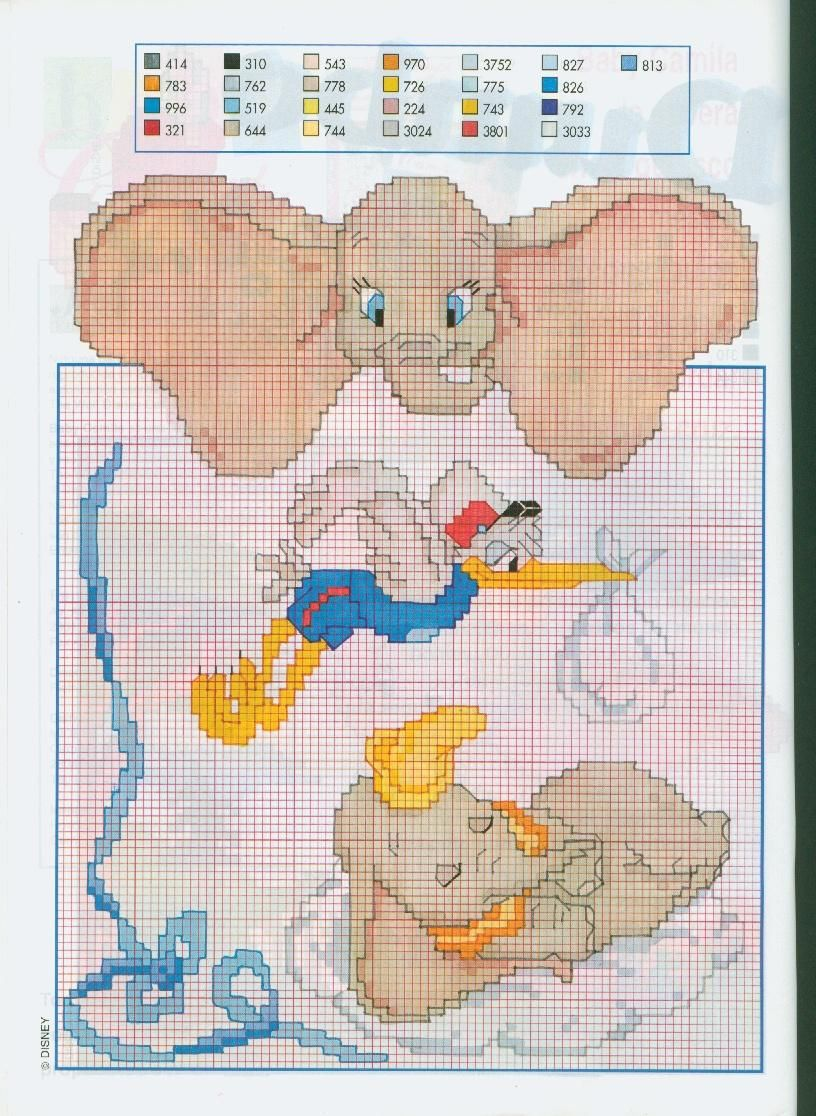 Disney dumbo cicogna punto croce for Schemi punto croce bambini disney