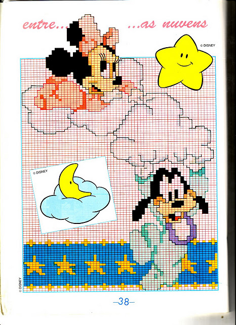 Disney baby su nuvole 2 punto croce for Punto croce bambini disney
