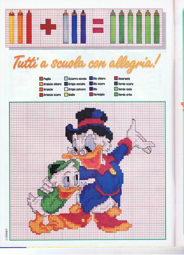 Disney paperone 1 punto croce uncinetto for Schemi punto croce bambini disney