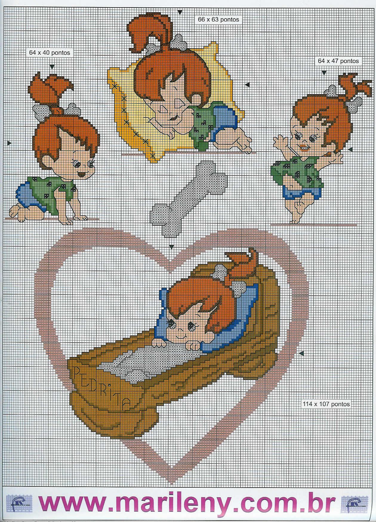 Flintstones 3 punto croce uncinetto for Punto croce bambini disney