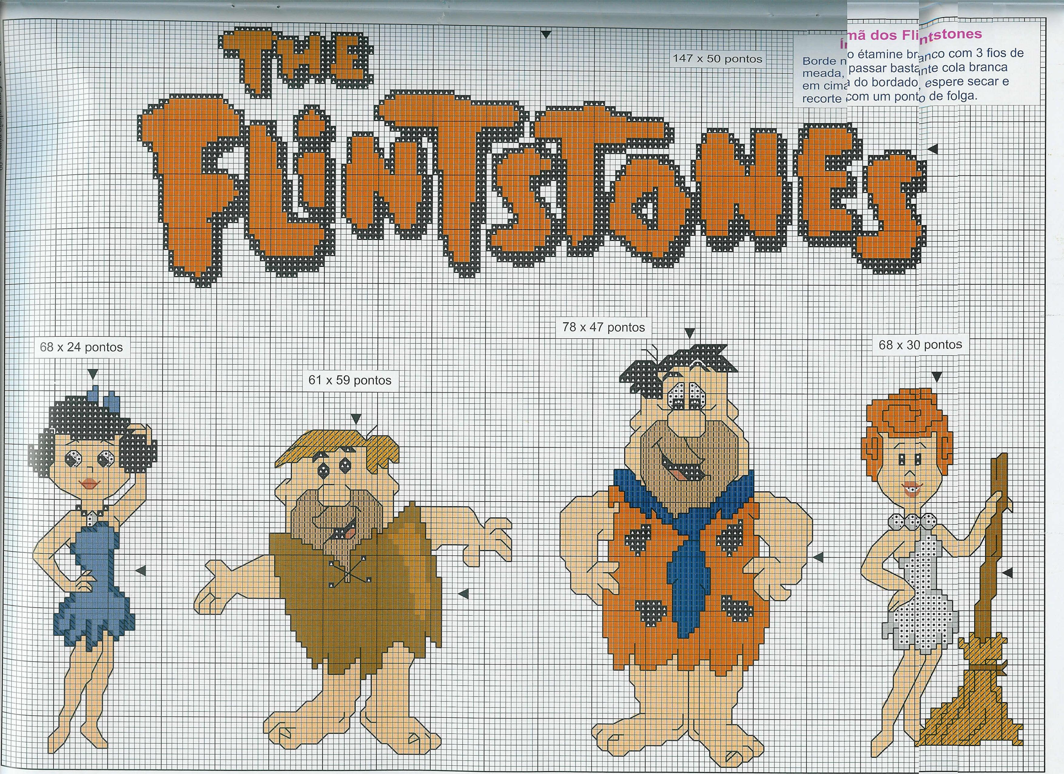 Flintstones 6 punto croce uncinetto for Punto croce bambini disney