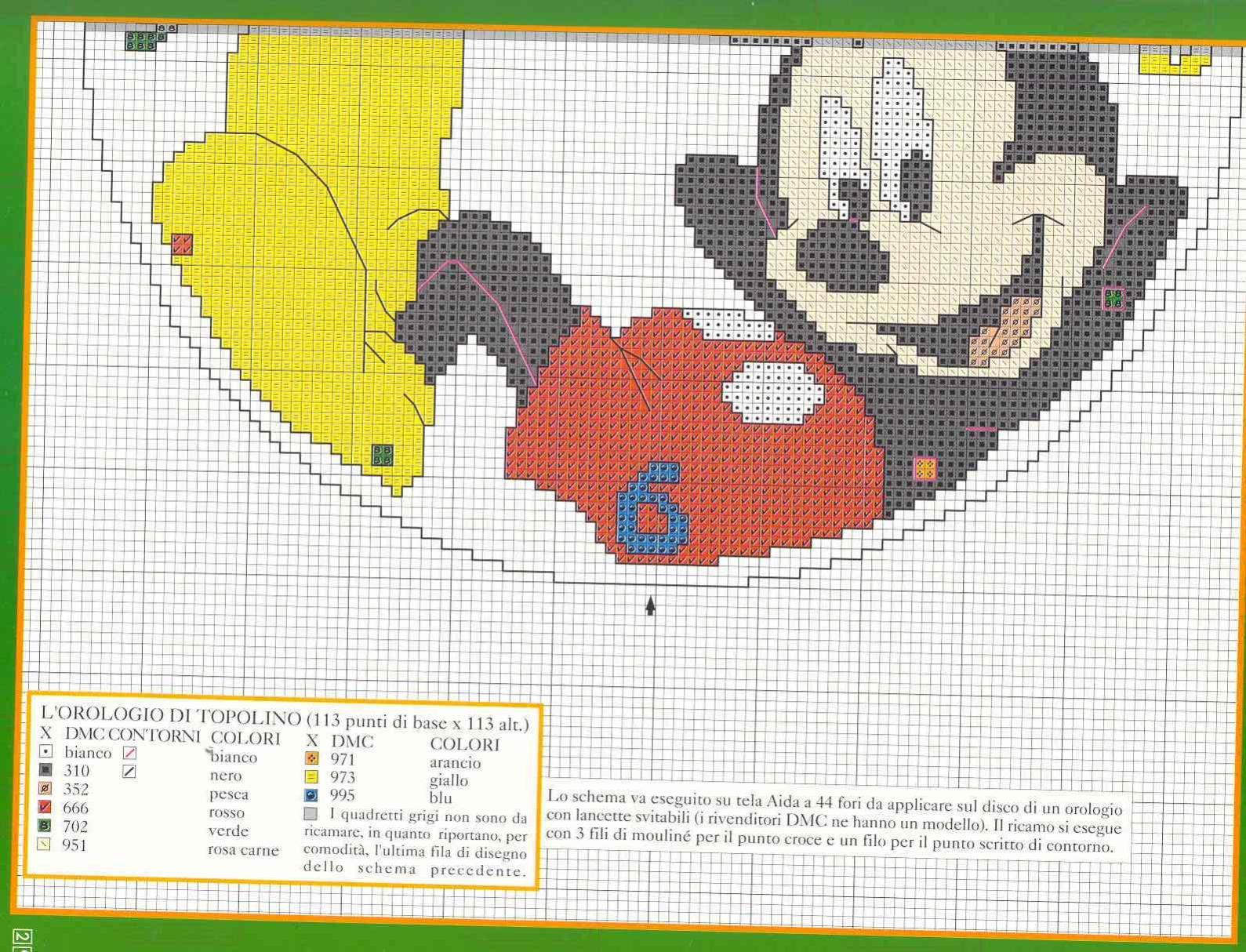 Orologio schema punto croce con topolino 3 magiedifilo for Orologio punto croce schemi gratis