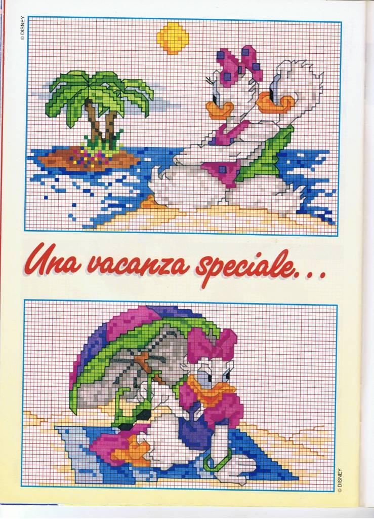 Paperino e paperina in spiaggia punto for Schemi punto croce bambini disney