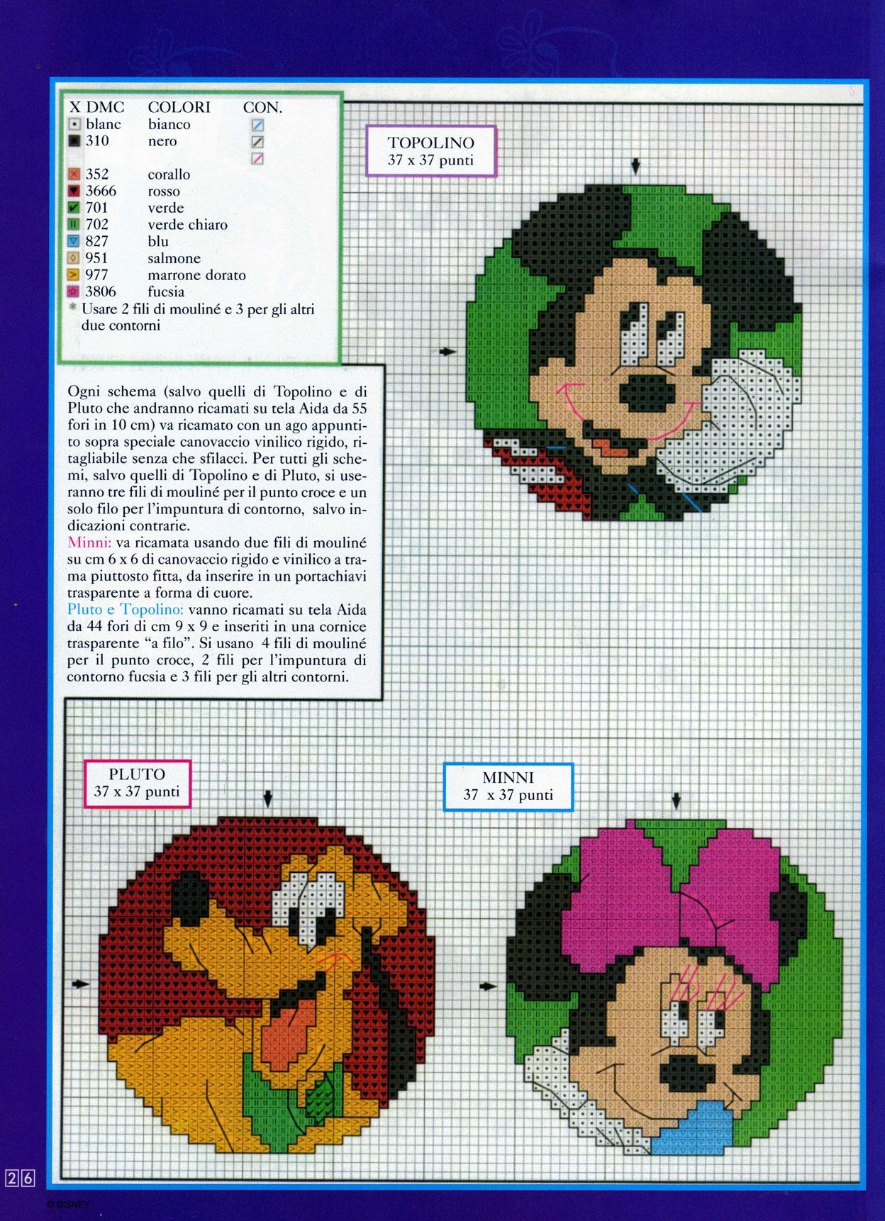 Piccoli ricami coi personaggi di topolino 2 for Schemi punto croce bambini disney