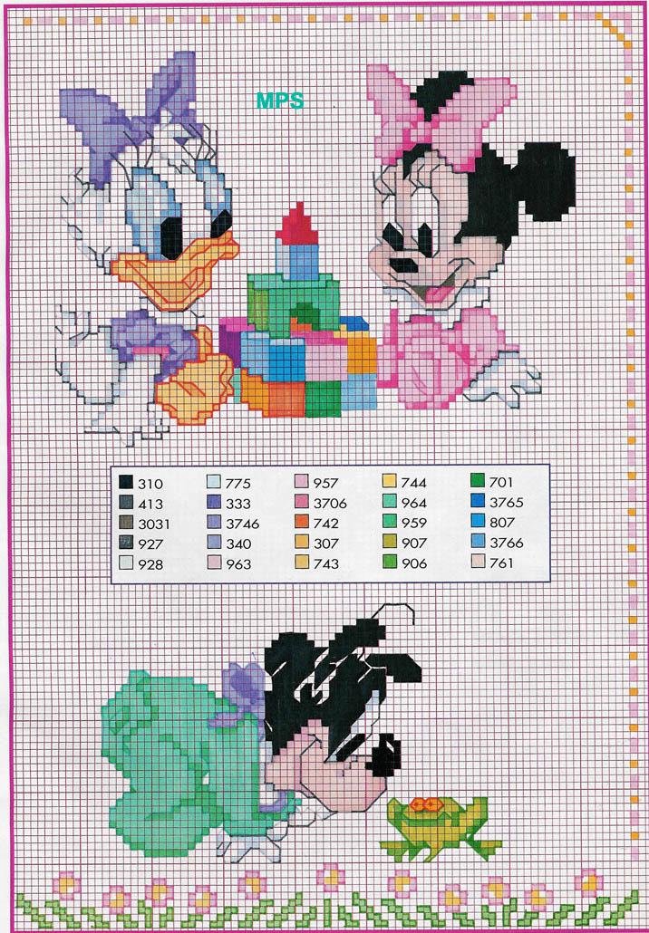 Schema baby pippo rana paperina minnie 574 magiedifilo for Disney punto croce schemi gratis
