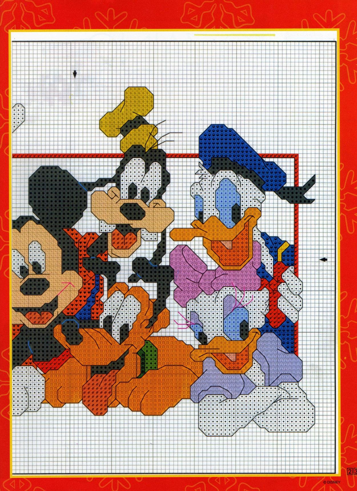 Schema punto croce dei personaggi di topolino 2 for Punto croce bambini disney
