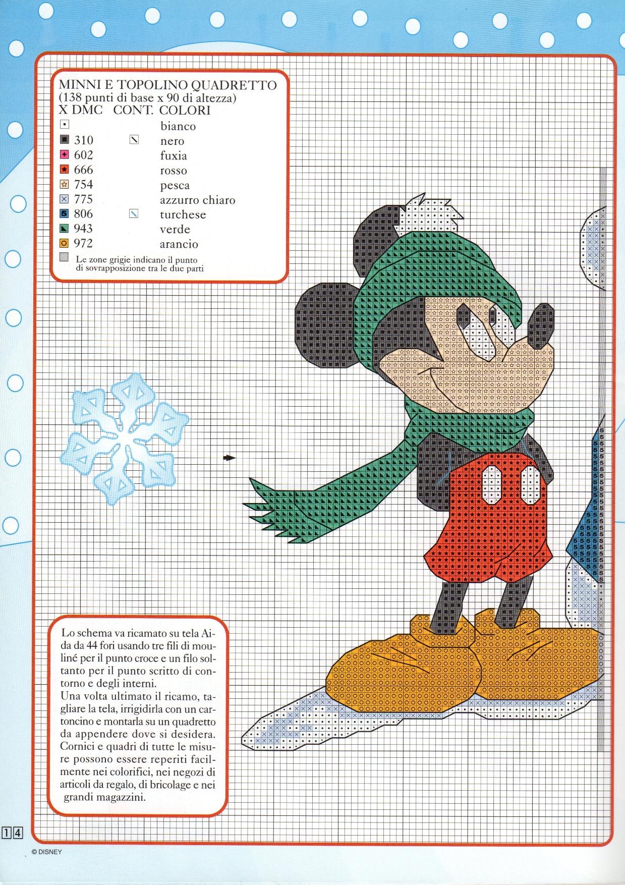 Schema ricamo minnie e topolino fanno il pupazzo di neve for Ricamo punto croce bambini