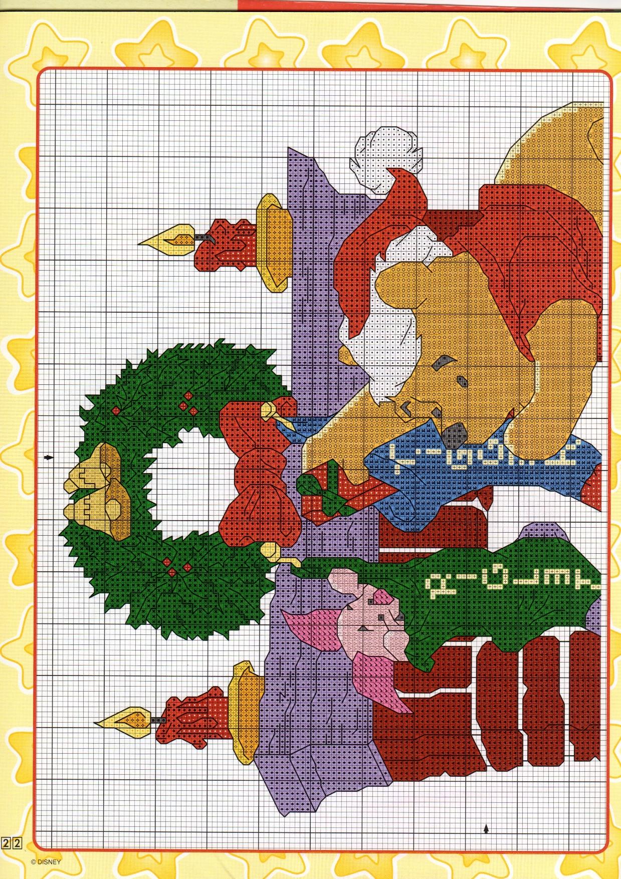 Schema ricamo winnie the pooh al caminetto 1 for Ricamo punto croce bambini