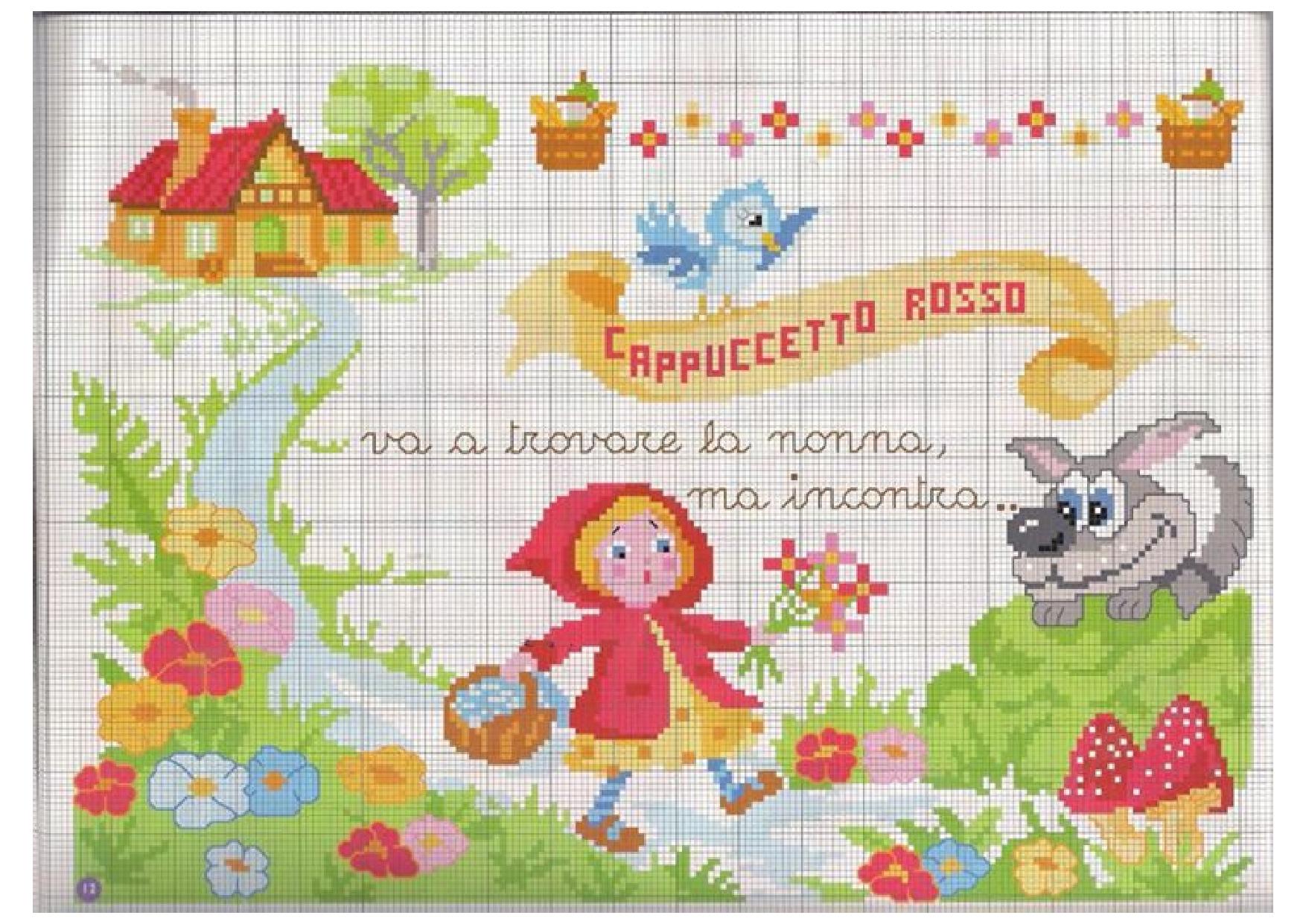 Fiaba cappuccetto rosso schema punto croce magiedifilo for Schemi punto croce bambini gratis