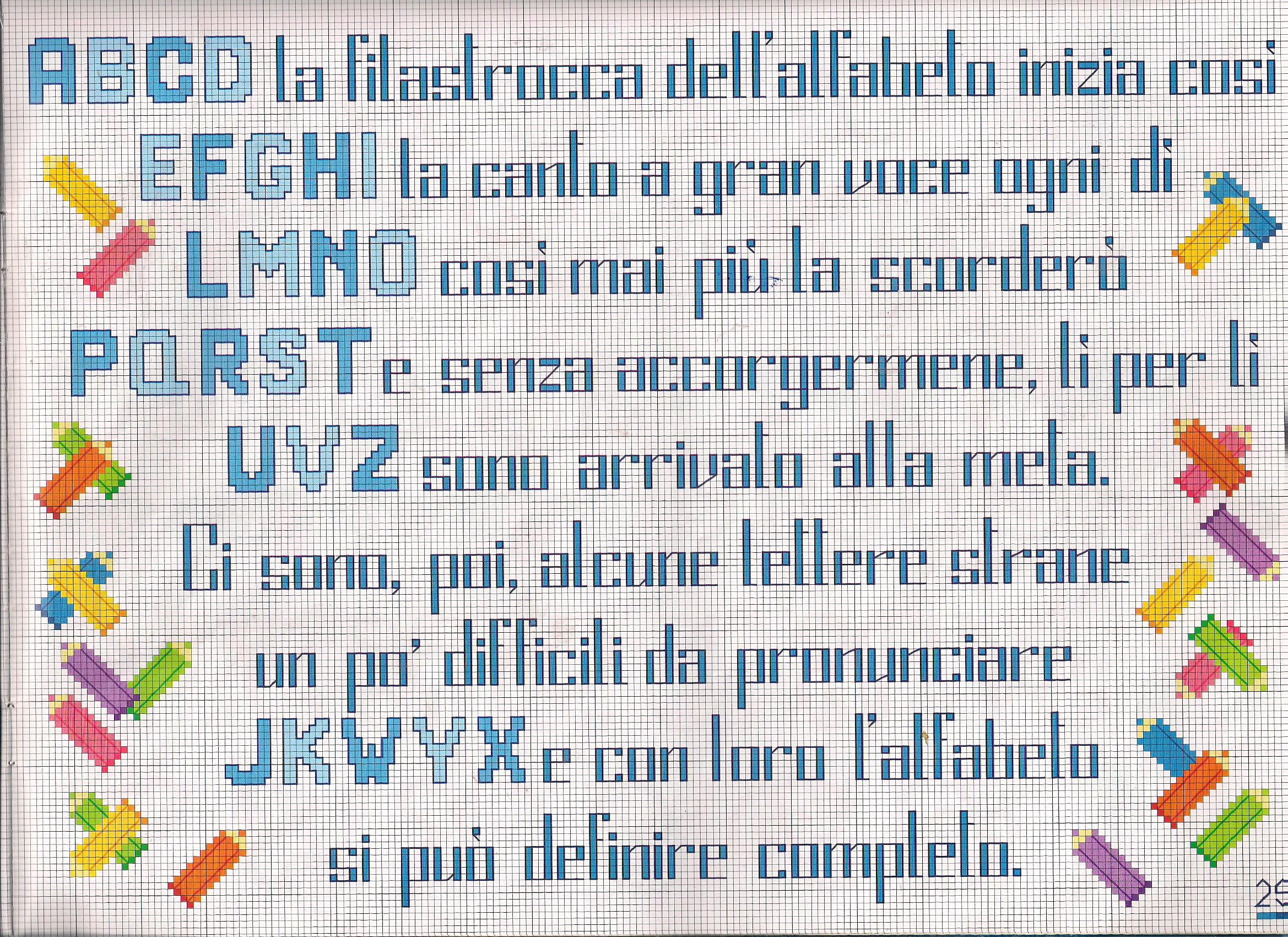 Filastrocca dell 39 alfabeto punto croce for Schemi punto croce alfabeto bambini