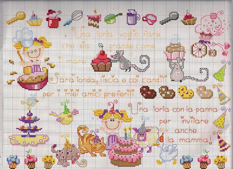 Filastrocca torta punto croce uncinetto for Decorazioni punto croce bambini