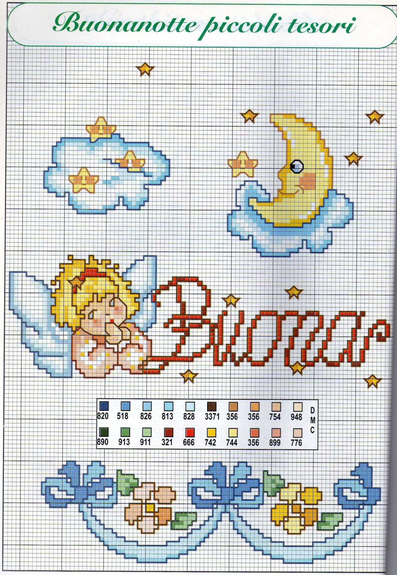 Buonanotte con angeli schema punto croce per lenzuolino 1 for Schemi a punto croce per bambini