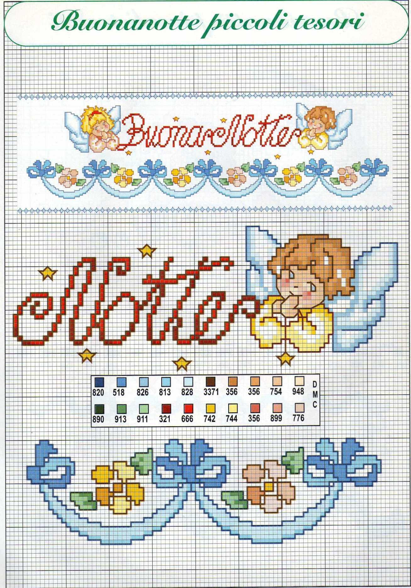 Buonanotte con angeli schema punto croce per lenzuolino 2 for Lenzuolini punto croce per bambini