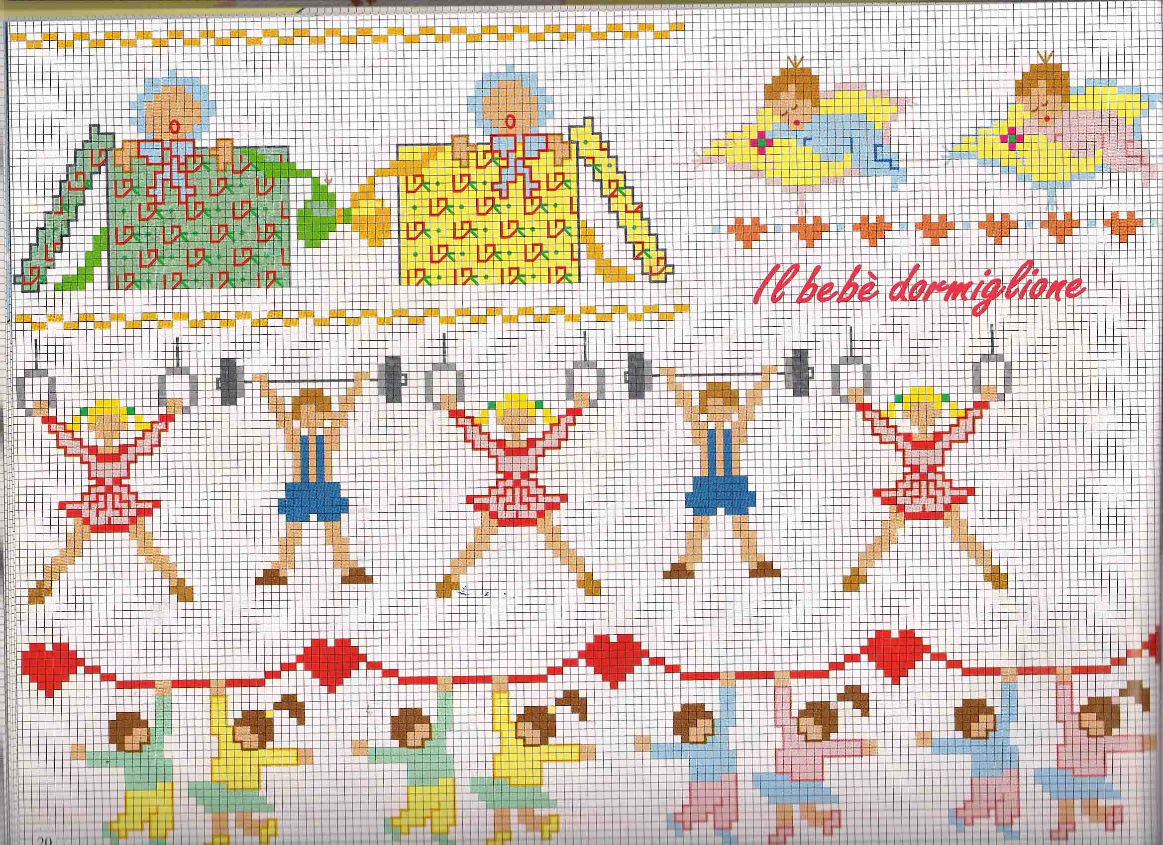 Bordi da ricamare bimbi con ballerine e atleti for Schemi lenzuolini punto croce